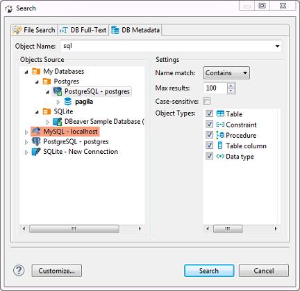 DB Metadata Search - 《DBeaver General User Guide》 - 书栈网 · BookStack